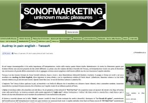 """Schermata dalla recensione dell'album """"audrey in pain english"""" su Sonofmarketing"""